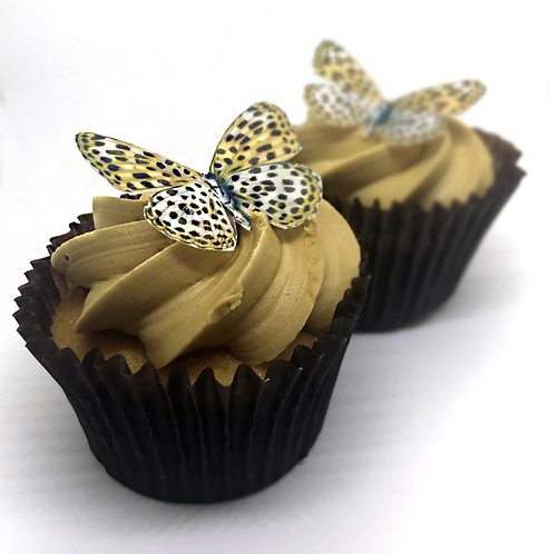 25 Leopard Print Butterfly Toppers Edible Thin Wafer Paper