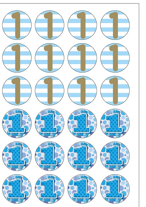 24 BOY Age 1 ONE Birthday Pre-Cut Thin Edible Wafer Paper