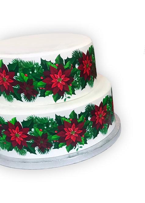 Christmas Poinsettia Flower Border Decor Icing Sheet Cake Decoration