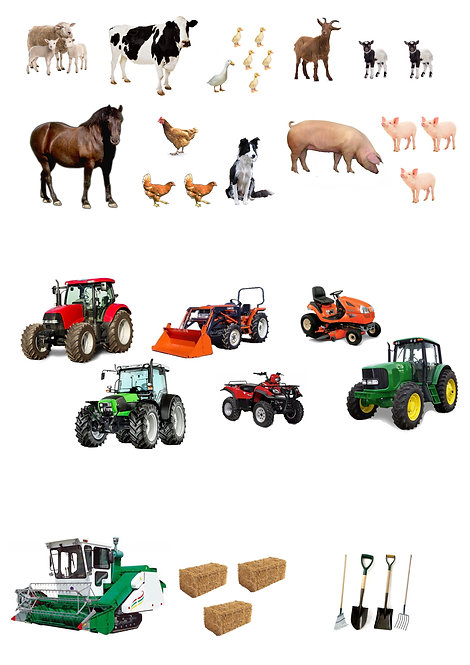 30 Stand Up Edible Wafer Paper Farm Tractor and Farm Animal Toppers