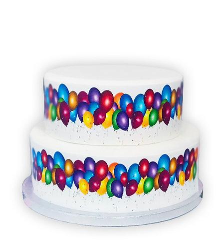 Colourful Bright Balloons Border Decor Icing Sheet Cake Decoration