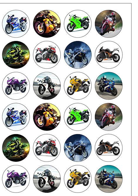 24 Motorbikes Pre-Cut Thin Edible Wafer Paper