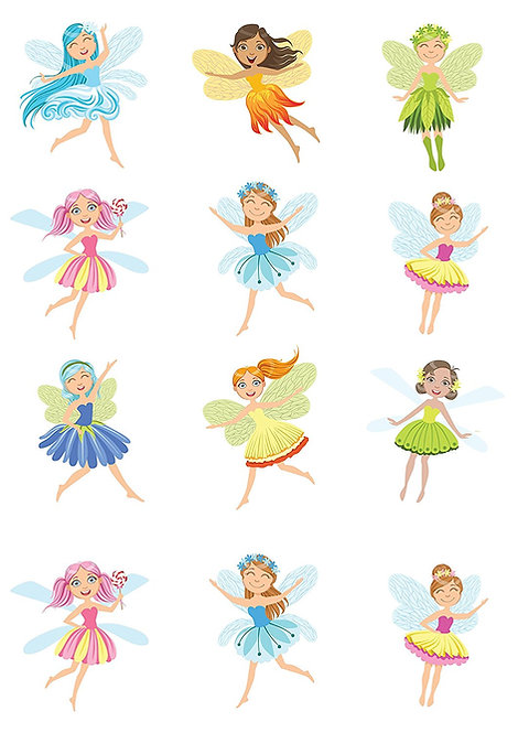 12 Stand Up Premium EDIBLE Wafer Paper Cute Fairies Fairy Cake Toppers