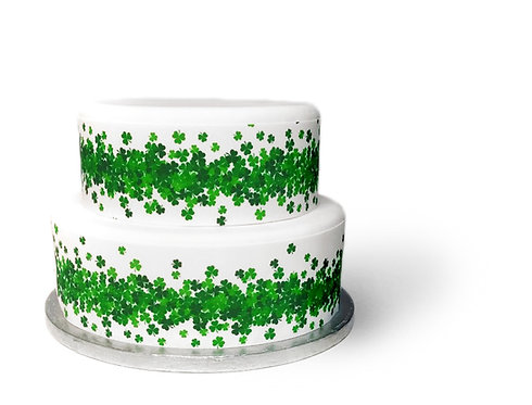 Shamrock St Patrick's Day Ribbon Border Decor Icing Sheet Cake Decor
