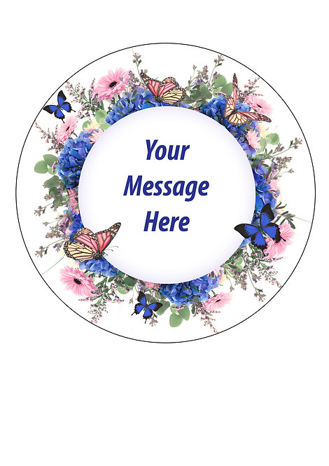 Flowers and Butterflies PERSONALISED MESSAGE 7.5 Inch Circle Decor Icing Sheet