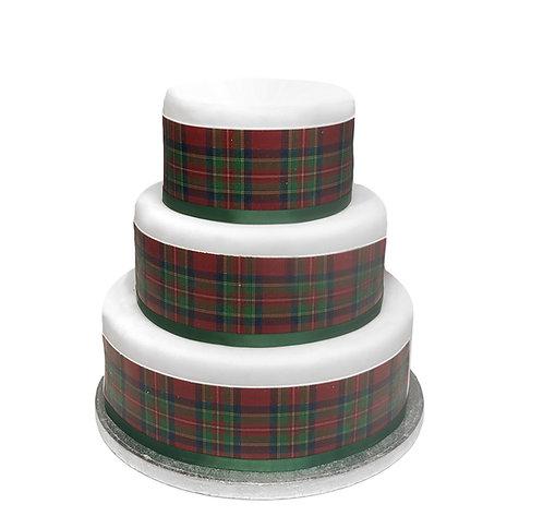 Scottish Red and Green Tartan Border Decor Icing Sheet Cake Decoration
