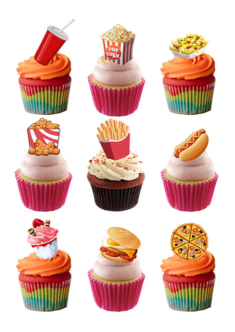 29 Fast Junk Food themed stand Up Cake Toppers on Thick Wafer