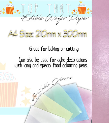 12 Sheets of A4 Edible Wafer Paper (Pink, Blue, Green, Yellow & White)