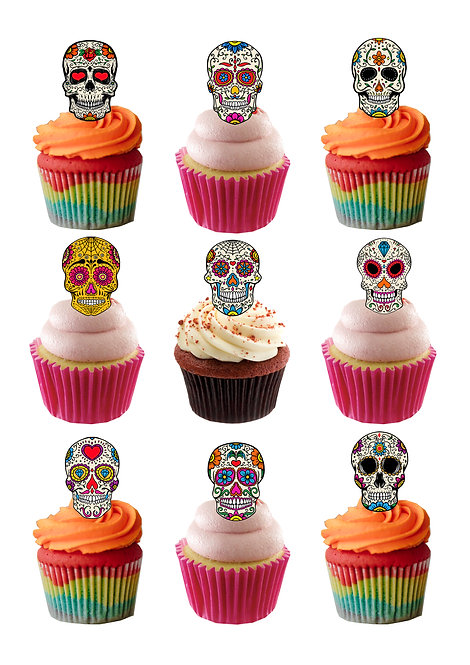 36 Stand Up Edible Wafer Paper Sugar Skulls themed Cake Toppers