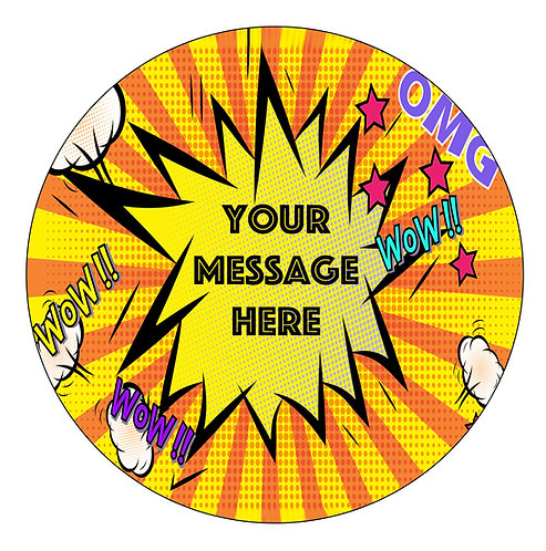 Pow Zap PERSONALISED MESSAGE 7.5 Inch Circle Decor Icing Sheet