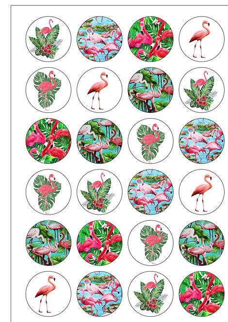 24 Pink Flamingo Pre-Cut Thin Edible Wafer Paper