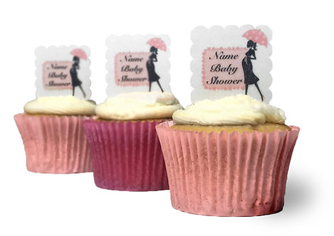 24 SQUARE Pre Cut Scalloped PERSONALISED Baby Shower PINK Edible Wafer Paper