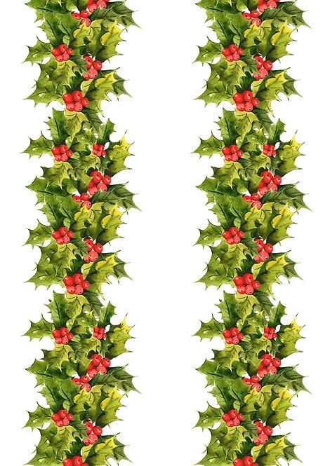 Christmas Holly & Berry Garland Borders Decor Icing Sheet