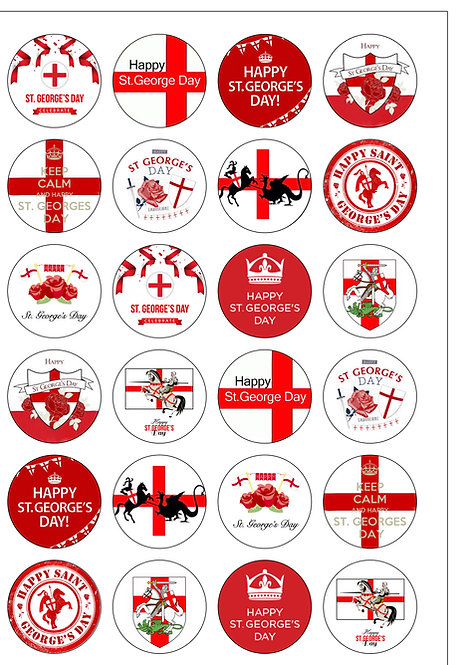 24 Precut St George's Day English Edible Wafer Paper Toppers Decorations