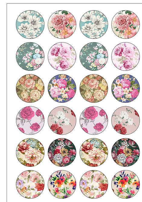 24 Floral Flower Rose Pre-Cut Thin Edible Wafer Paper