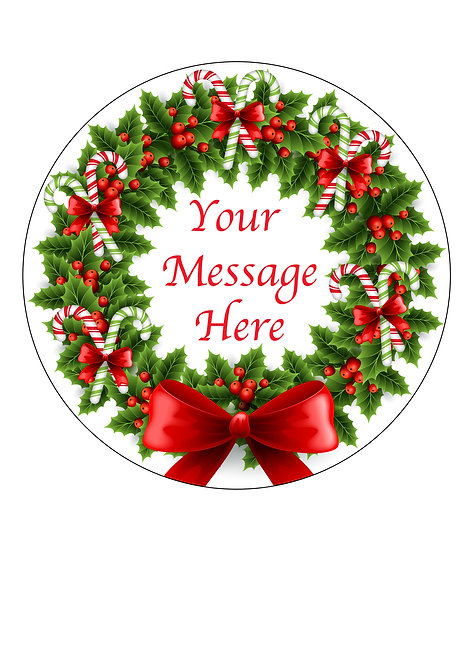 Candy Cane Wreath PERSONALISED MESSAGE 7.5 Inch Circle Decor Icing Topper
