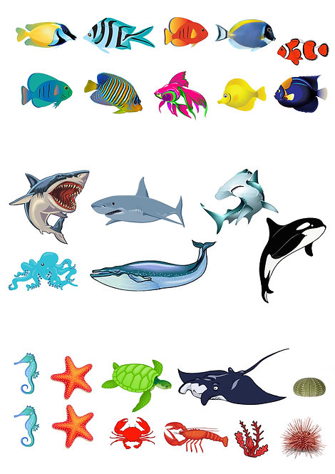 27 Stand Up Edible Wafer Paper Sea Creatures Toppers