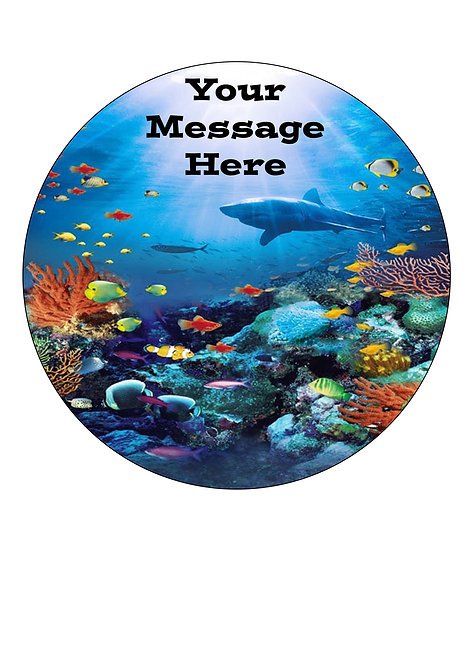 Underwater Sea Ocean Coral PERSONALISED MESSAGE 7.5 Inch Circle Decor Icing Shee