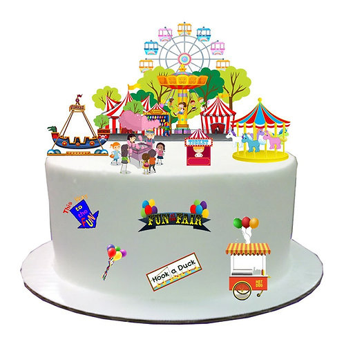 Fairground Fun Fair Stand Up Cake Scene Made From Edible Wafer Paper