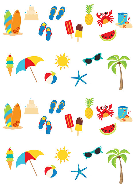 32 Stand Up Edible Wafer Paper Beach Seaside Summer Toppers