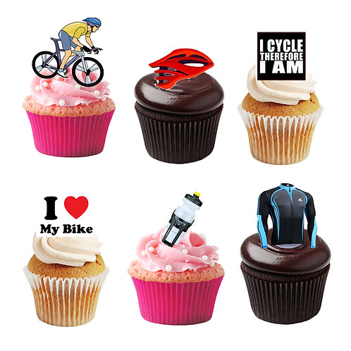36 Stand Up Edible Wafer Paper Cycling Toppers