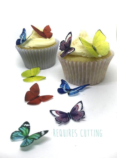 40 Mixed Colour Butterfly Toppers Edible Thin Wafer Paper