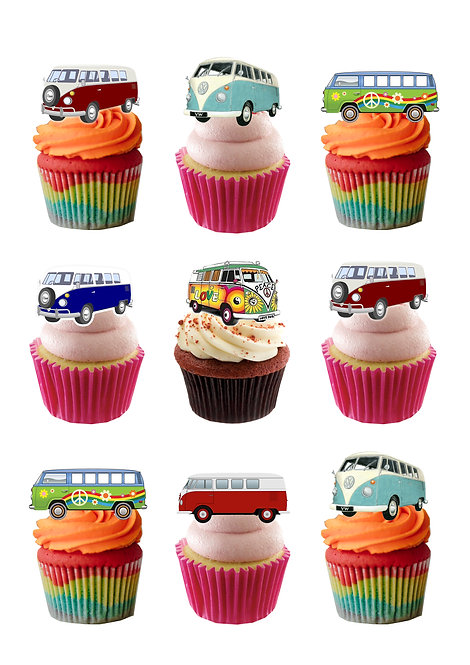 18 Stand Up Classic Campervan Edible Wafer Paper Cake Toppers
