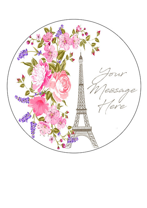 Paris Eiffel Tower PERSONALISED MESSAGE 7.5 Inch Circle Decoration Topper