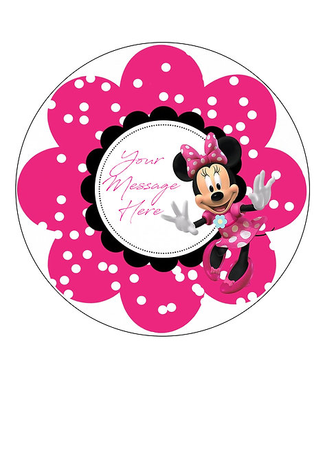 Pink Minnie Mouse PERSONALISED MESSAGE 7.5 Inch Circle Icing Cake Topper