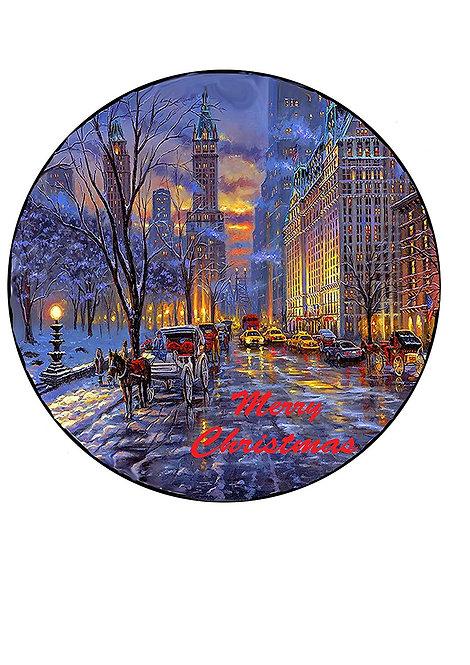New York City Christmas Scene 7.5 Inch Circle Decor Icing Sheet