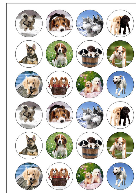 24 Dogs and Puppies Pre-Cut Thin Edible Wafer Paper