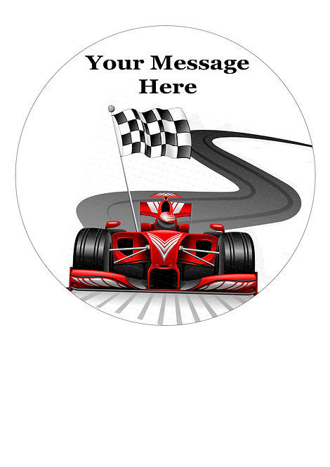 Formula 1 Racing car PERSONALISED MESSAGE 7.5 Inch Circle Decor Icing Topper