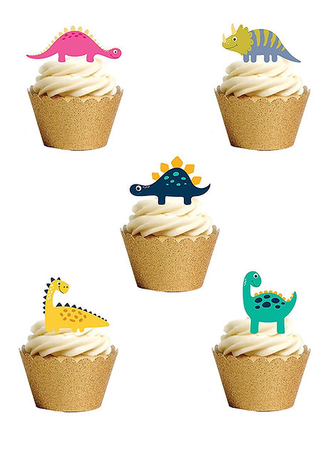24 Stand Up Edible Wafer Paper Cute Cartoon Dinosaurs Toppers