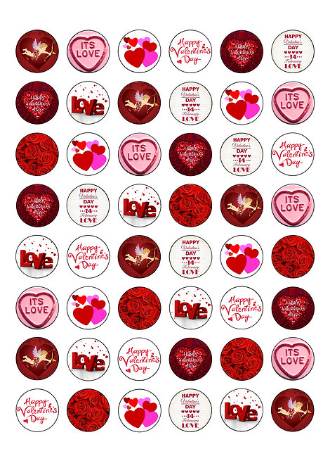 48 Valentine's Day Love Theme 2.5cm Edible Wafer Toppers