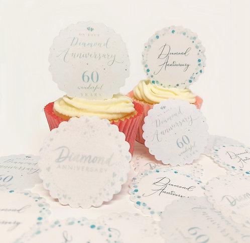 15 Pre-Cut Scalloped Edge Diamond 60 Happy Anniversary Edible Thick Wafer