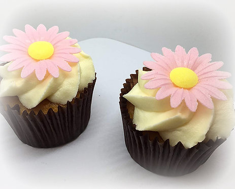 6 Large 45mm 3D Daisy Flowers Edible Wafer Paper Toppers