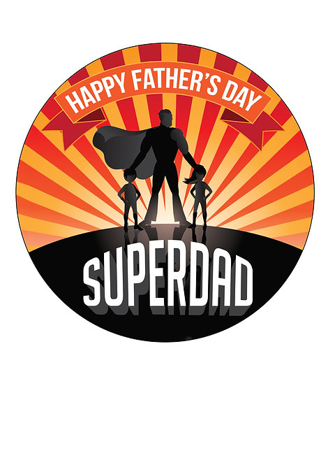 Super dad Fathers day 7.5 Inch Circle Decor Icing Sheet Topper