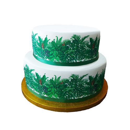 Tropical Green Leaves Leaf Border Decor Icing Sheet Cake Decoration