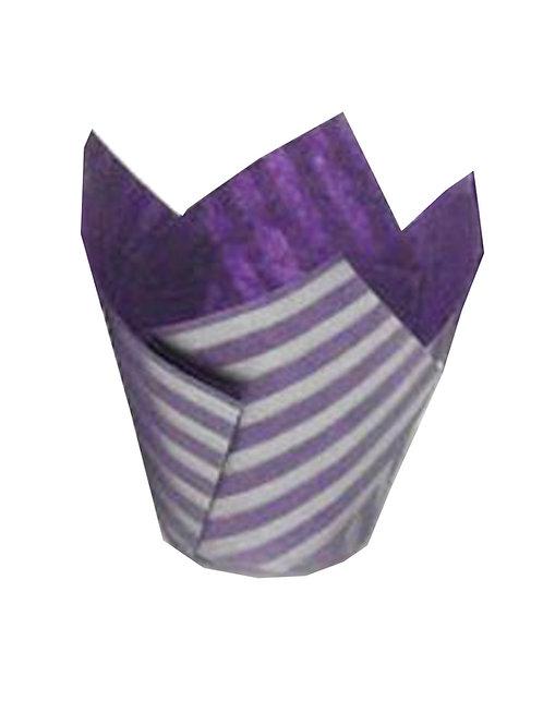 50 Purple & Silver Stripe Tulip Muffin Cupcake Baking Cases