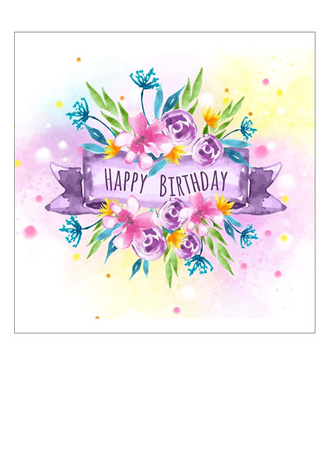 Bright Watercolour Floral Happy Birthday 7.5 Inch SQUARE Decor Icing Sheet