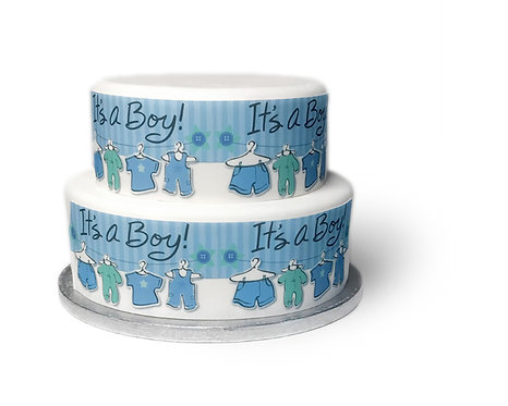 It's A Boy Baby Shower Borders Decor Icing Sheet