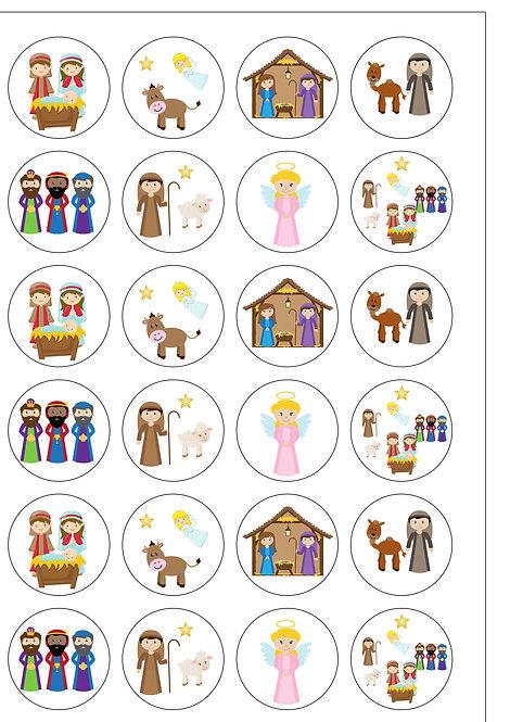 24 Christmas Nativity Pre-Cut Thin Edible Wafer Paper