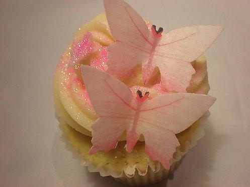 25 Pre-Cut Pink Butterflies Thin Edible Wafer Paper