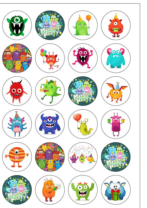 24 Pre-Cut Cute Monster Party Edible Wafer Paper Cake Toppers