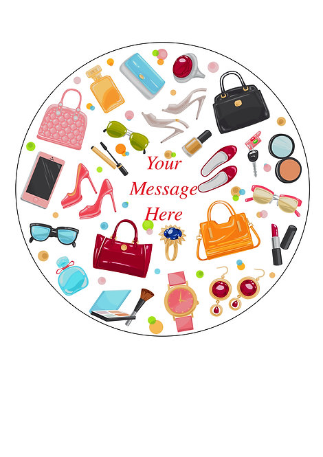 Girls Fashion Accessories PERSONALISED MESSAGE 7.5 Inch Circle Decor Icing Toppe