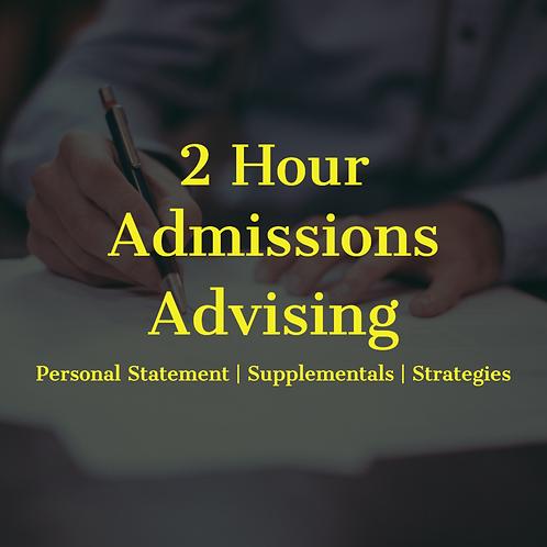 2 hour Admissions Advising