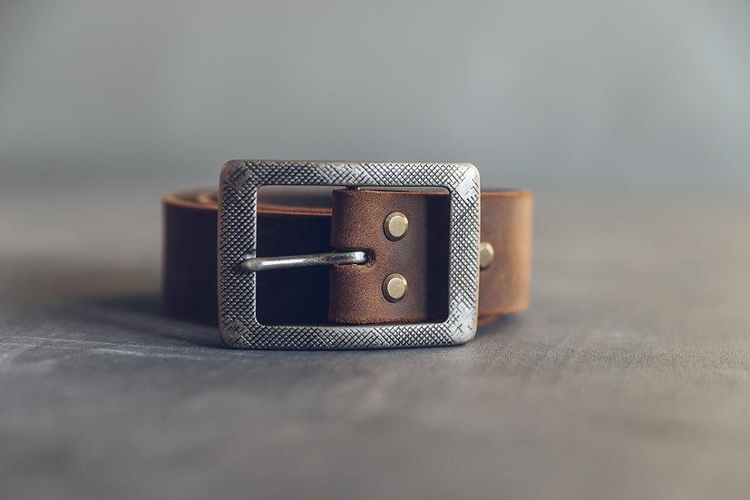 Handmade Brown Leather Belt in Kraft Box