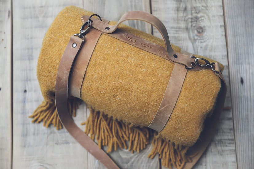 Personalized Leather Handle Strap with Mustard Wool Throw Blanket