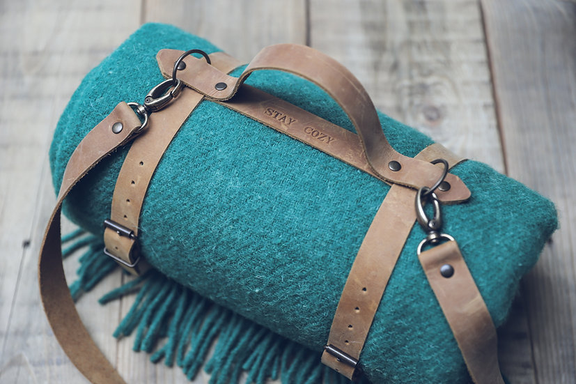 Personalized Leather Handle Strap with Green Wool Throw Blanket