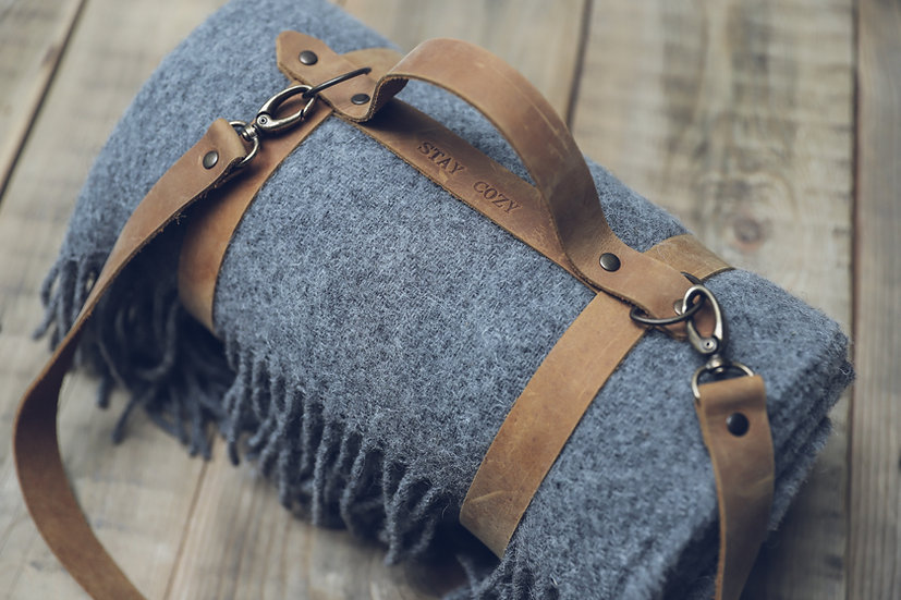 Personalized Leather Handle Strap with Gray Wool Throw Blanket